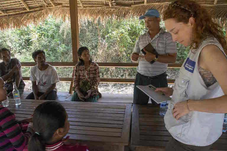 Members of the Cambodian country office of the Office of the United Nations High Commissioner for Human Rights discussed indigenous rights issues with members of the Chong people in the Areng Valley in December 2015. Ven Vorn was convicted of harvesting timber without authorization in order to build the community center used for the meeting. Photo by Rod Harbinson.