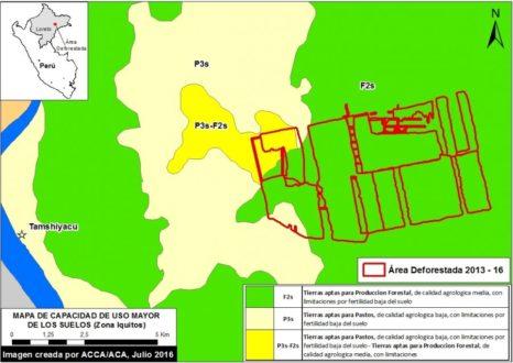 El recuadro rojo representa el terreno deforestado de Cacao del Perú Norte, cuya gran parte es de aptitud forestal (en verde). Imagen de ACA/ACCA/MAAP y datos del Minagri 2016.